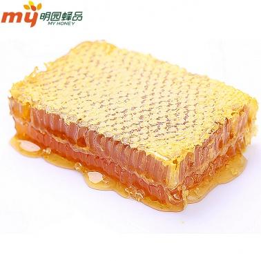【原生态 零人工蜂蜜】 明园蜂产品新疆伊犁山花蜜天然巢蜜盒装 黑蜂蜂蜜巢原生态巢蜜